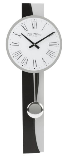 "Black & Silver Colour Pendulum Wall Clock 69cm Roman Dial ""Batersby"""