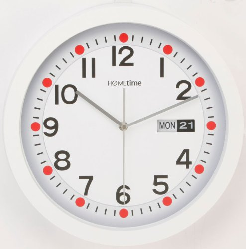 Hometime Wall Clocks – Large 33cm Retro Day & Date Wall Clock in White