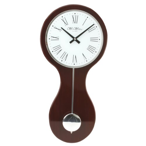 Mahogany Colour Pendulum Wall Clock 59cm with Mirror Roman Dial