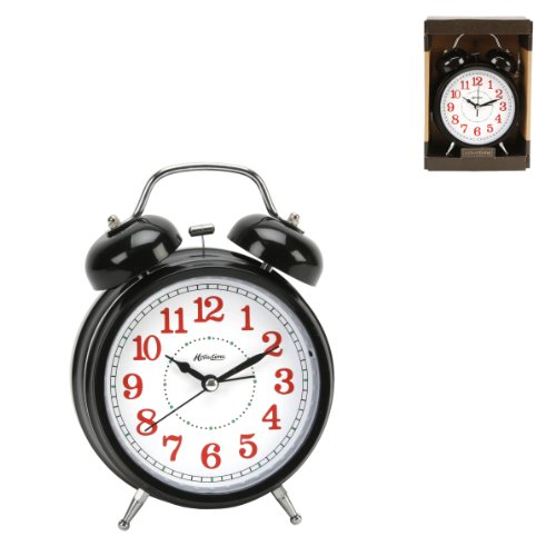 Hometime black Quartz Double Bell Traditional Alarm clock