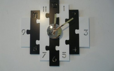 """Contemporary Wooden Wall Clock """"Black And White Puzzle Clock"""""""