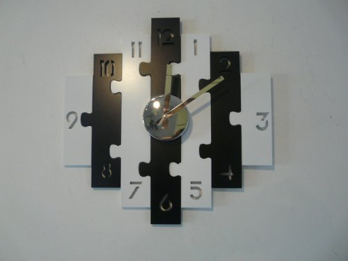 "Contemporary Wooden Wall Clock ""Black And White Puzzle Clock"""