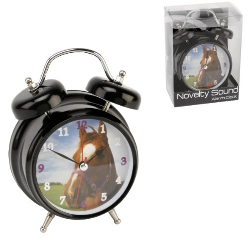 Hometime Novelty Double Bell Horse Alarm Clock – Black