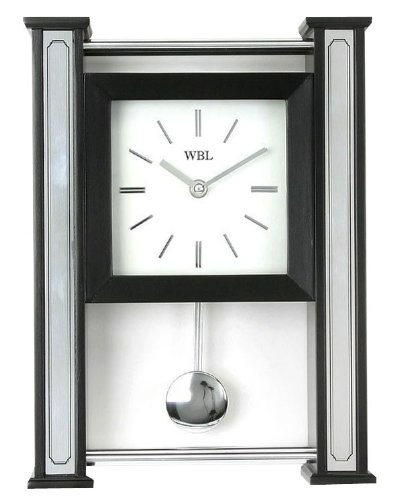 Ultra Modern Wall or Mantel Clock with Moving Pendulum – Black Wood and Silver Chrome Design