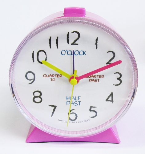 Teach how to tell the Time Large Bold Pink Alarm Clock