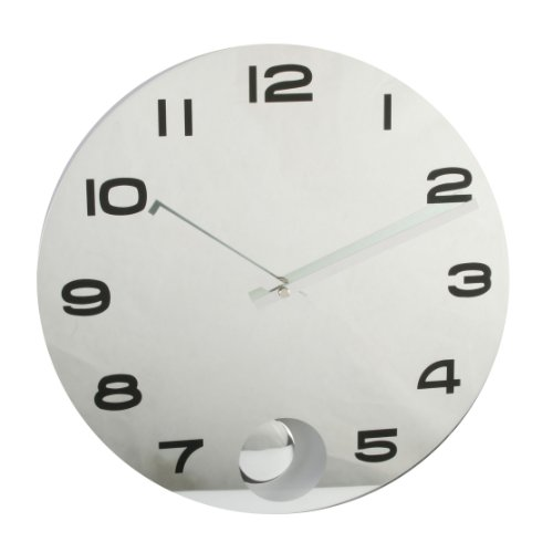 Quartz Round Mirror Wall Clock with Pendulum