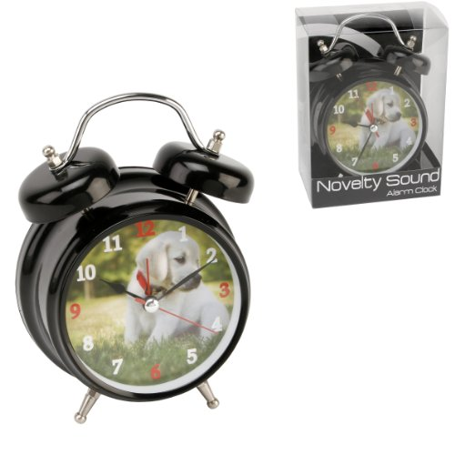 Hometime Novelty Double Bell Dog Alarm Clock – Black