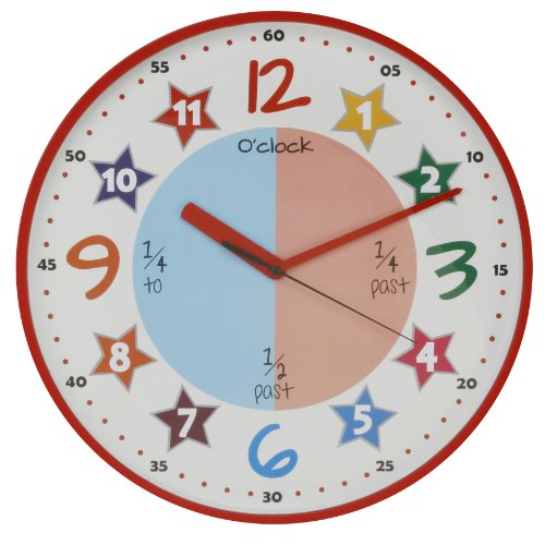 Bright Bold Colourful Teach the Time Wall Clock