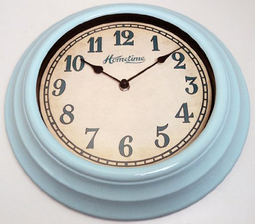 Hometime Wall Clocks – 30cm Retro Design Blue Wall Clock