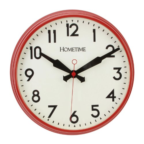 Hometime Deep Dish Station Clock Silent Sweep Second Hand in Retro Red
