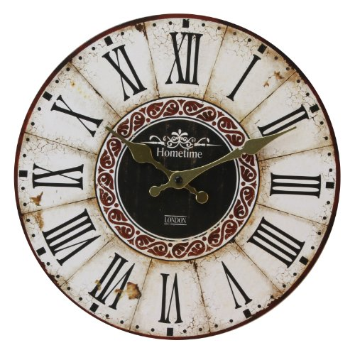 Wall Clock Chic 'n' Shabby Vintage Antique Distressed Style Clock with Roman Numerals – Ornate Gold Colour Hand Dials