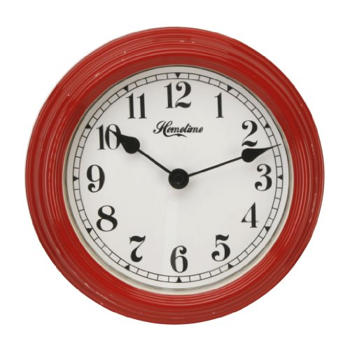 22cm Deep Red Metal Case Hometime Wall Clock Southampton Design