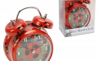 Hometime Novelty Double Bell Football Alarm Clock – Red