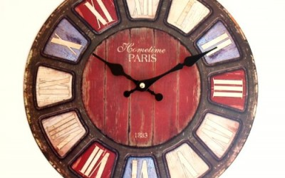 Wall Clock U2013 Dome Shabby U0026 Chic Distressed Antique Rustic U0026 Retro Style  Clock With Coloured Roman Numerals For Kitchen, Office, Cafe, Work U2013 Domed  Shape ...