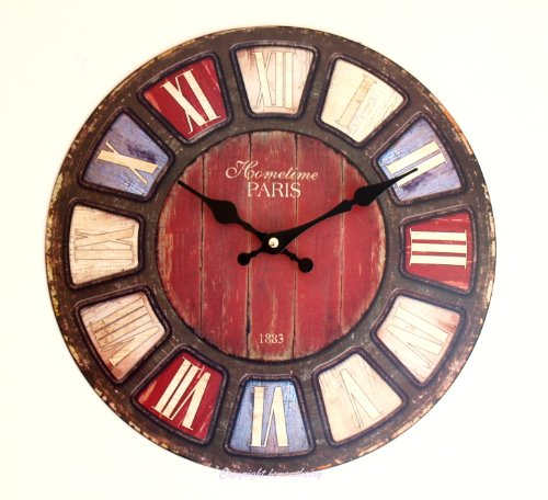 Wall Clock – Dome Shabby & Chic Distressed Antique Rustic & Retro Style Clock with Coloured Roman Numerals for Kitchen, Office, Cafe, Work – Domed Shape Wall Clock – Vintage Distressed Chic & Shabby Style Metal Wall Clock