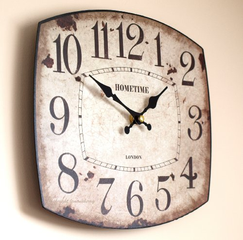 Wall Clock – Shabby & Chic Distressed Vintage Antique Rustic Style Oval Clock for Kitchen, Office, Cafe or Work Place