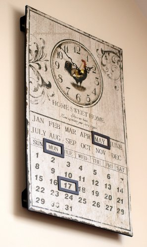 Wall Clock & Calendar – Shabby & Chic Distressed Vintage Antique Rustic Style Kitchen Calendar Hen Wall Clock