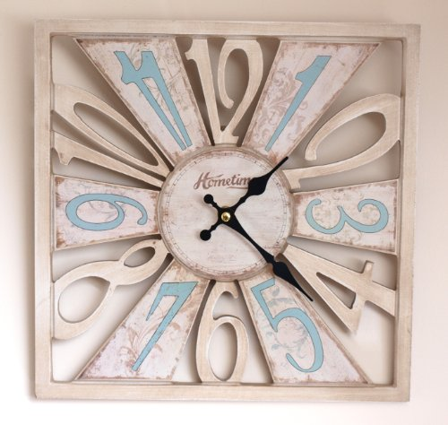 Wall Clock Chic 'n' Shabby Distressed Style Square Wooden 'Cut-Out' Pastel Coloured Wall Clock – Cream & Pastel Blue – Decorative Ornate Hand Dials