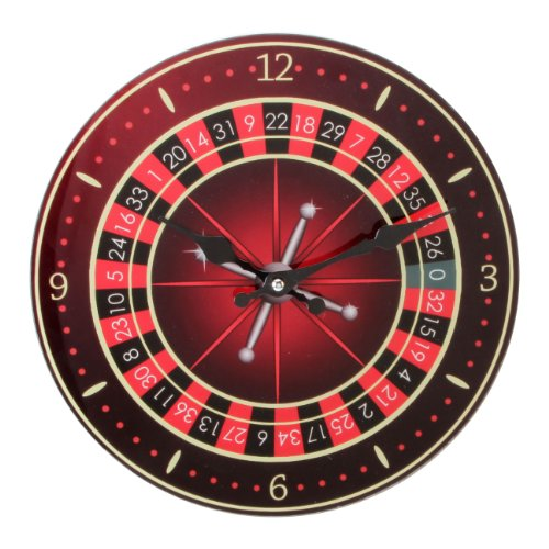 Hometime Glass Wall Clock – Roulette 30cm (W7568)