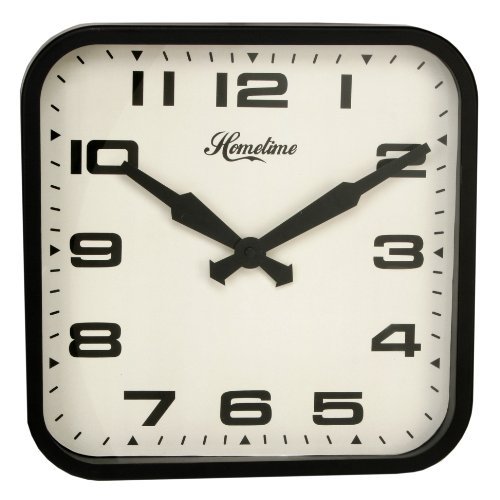 "Square Metal Black Bold Classic Wall Clock ""Clapham"" 30 cms"
