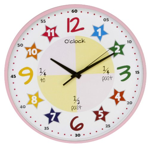 Bright Bold Pink Colourful Teach the Time Wall Clock