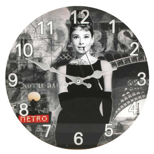30cm Glass Hometime Wall Clock Audrey Hepburn Design