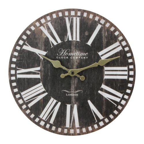 Wall Clock Chic 'n' Shabby Vintage Antique Distressed Style Clock in Brown with Roman Numerals – Ornate Gold Colour Hand Dials