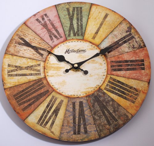Wall Clock Chic 'n' Shabby Retro Style Multi Coloured Wall Clock, Roman Numerals, Ornate Hand Dials