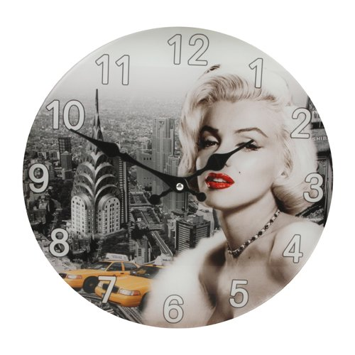 30cm Glass Hometime Wall Clock Marilyn Monroe Design