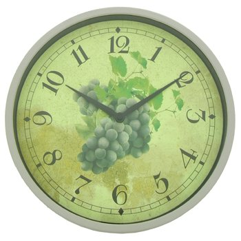 Wall Clock with Grapes Design in Vintage/Aged Effect