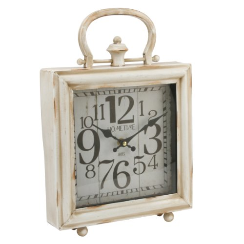 Shabby Chic French Country Square Mantel Clock Antique Cream W2996