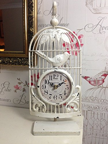 New Large 41cm Shabby Chic Distressed Vintage Style Cream Metal Bird Cage Mantle Clock