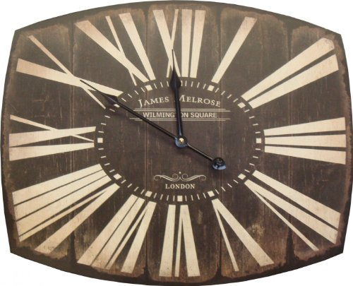 Landon Tyler Natural Interiors Handcrafted Metal Wall Clock Hometime Black with Cream Roman Numerals 50cm 82-9274