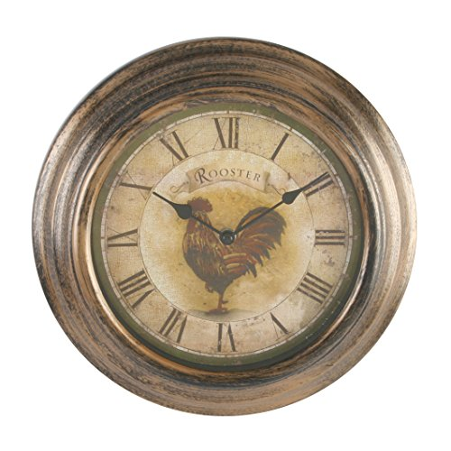 Windsor Wall Clock Antique Case Plus Rooster Dial, Brown