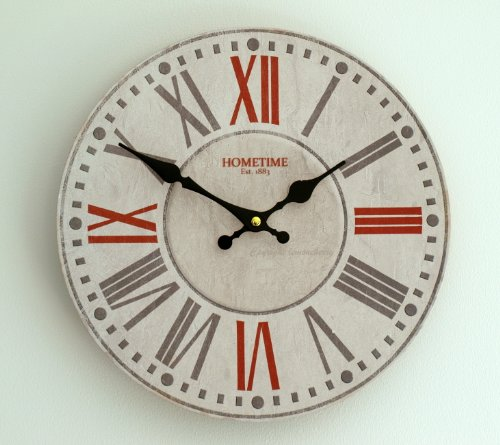 Wall Clock Chic Shabby Retro Style Wall Clock – Roman Numerals, Ornate Hand Dials in White, Red & Grey