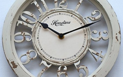 Charmant Wall Clock U2013 Shabby Chic Rustic Vintage Distressed Style Cut Out Numbers U2013  Ornate Black