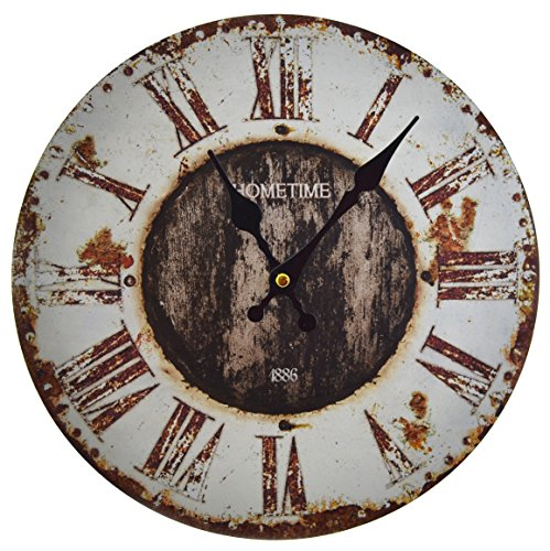 "Hometime Rustic / Shabby Round 30cm Wooden Wall Clock – ""Rural"""