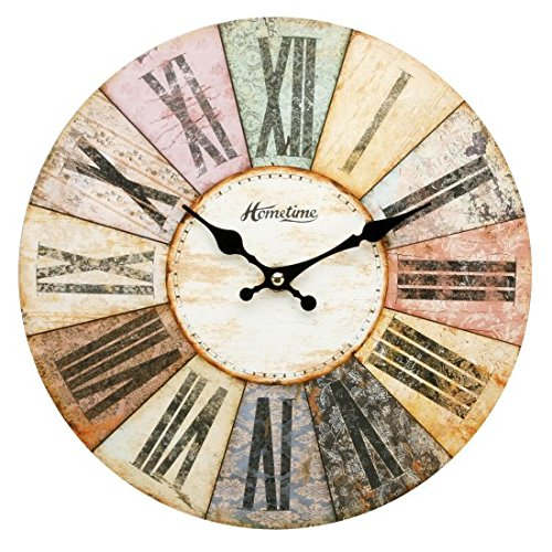 Hometime MDF Round Wall Clock Roman Dial – Multi Coloured W6803BN