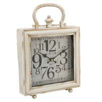 Hometime Square Mantel Clock & Handle Ant Crm Arabic 'Derby'