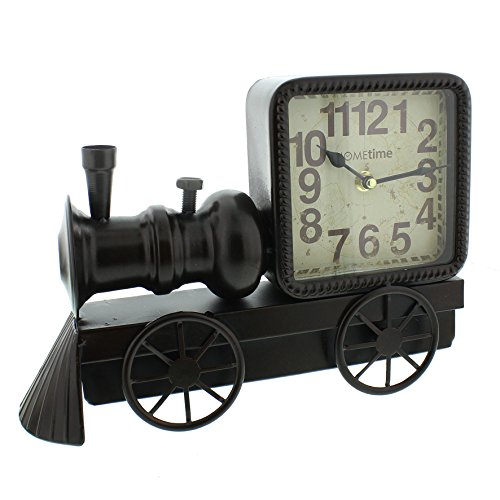 Hometime Metal Mantel Vintage Clock – Black Locomotive Arabic Dial