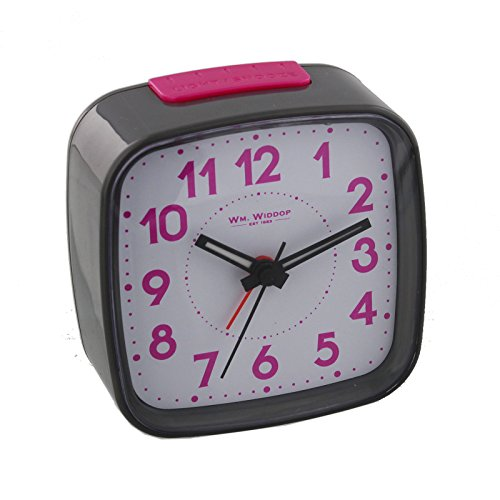 Non Ticking Alarm Clock, Crescendo Beep Alarm with Light and Snooze, Pink