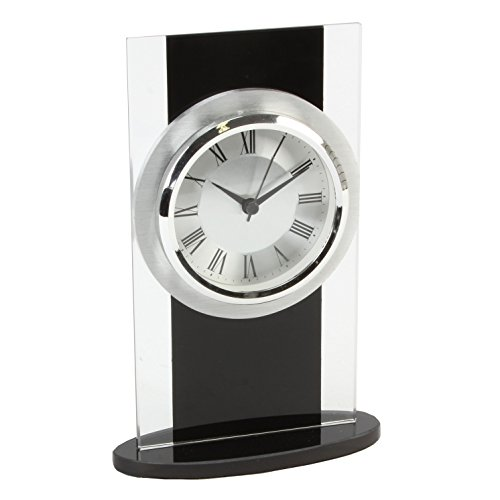 Glass and black modern mantle clock