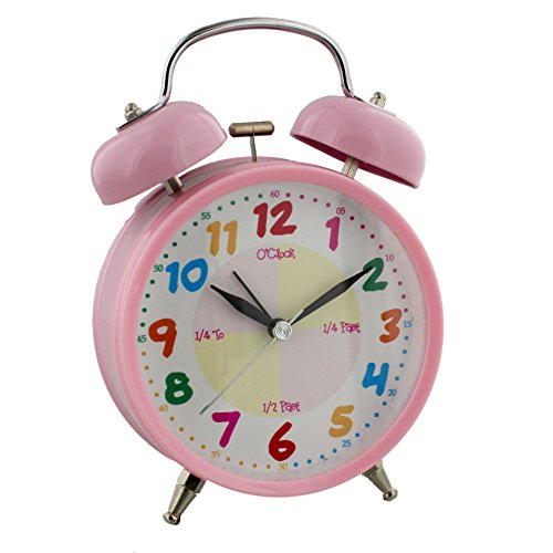 Teach The Time Children's Quartz Double Bell / Musical Alarm Pink
