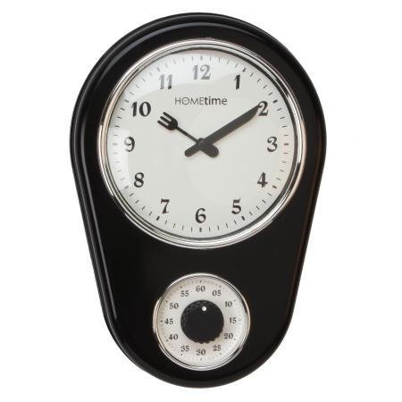 Hometime Retro Kitchen Wall Clock With Timer – Black