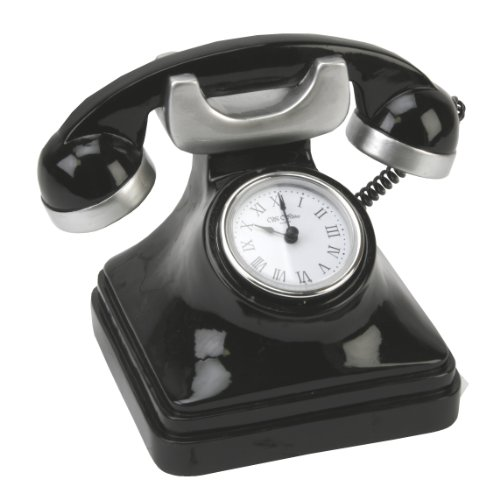 Novelty Telephone Clock in Shiny Black