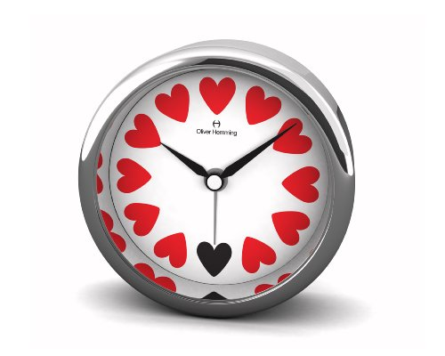 Oliver Hemming 8 cm Heart Designer Alloy Alarm Clock with Crystal Glass Lens