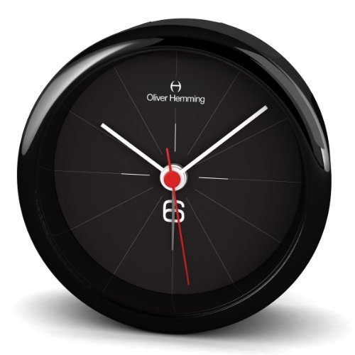 Oliver Hemming Six 8 cm Acrylic Designer Alarm Clock with Mineral Glass Lens Alarm and Snooze, Black