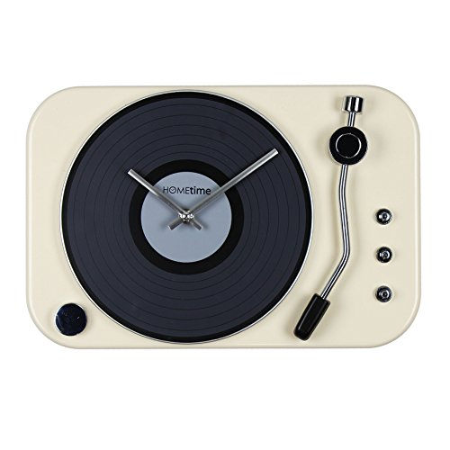 Hometime Metal Wall Clock Record Player Style – Cream
