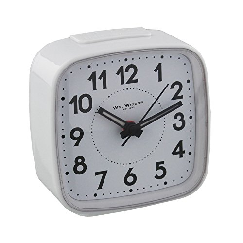 Non Ticking Alarm Clock, Crescendo Beep Alarm with Light and Snooze, White