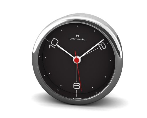 Oliver Hemming 10,2,6 8 cm Designer Alloy Alarm Clock with Crystal Glass Lens, Black